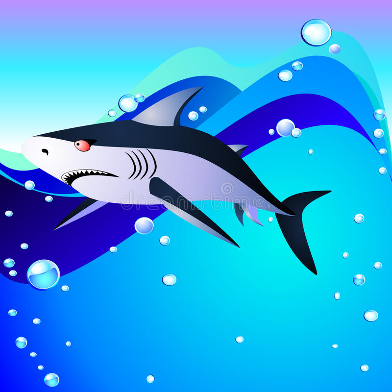 Download Shark and sea stock vector. Image of bubble, background - 17072615