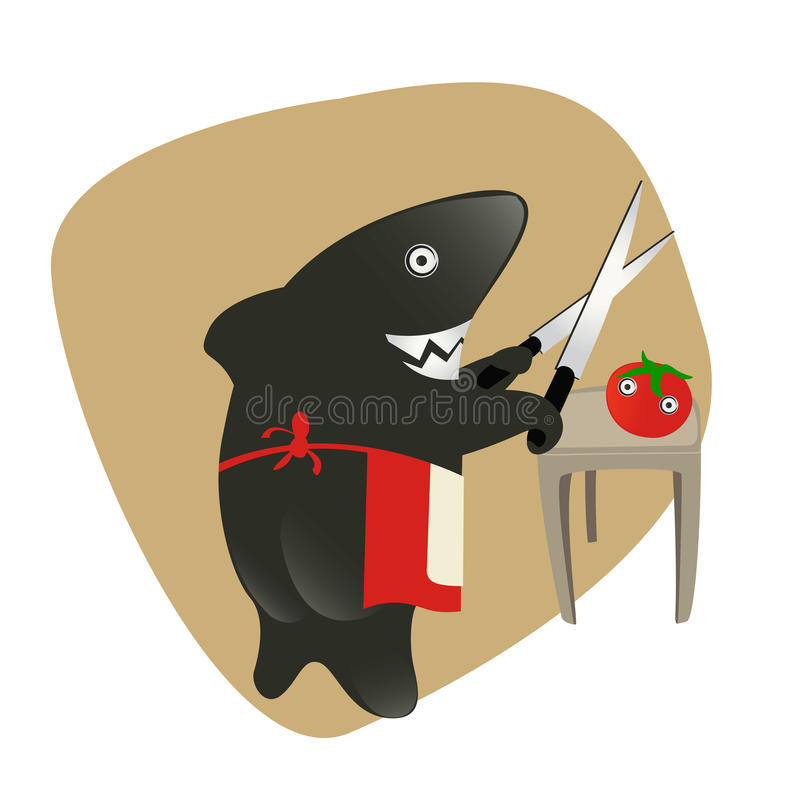 Shark Sharpening The Knifes For Eating A Tomato. Stock Image