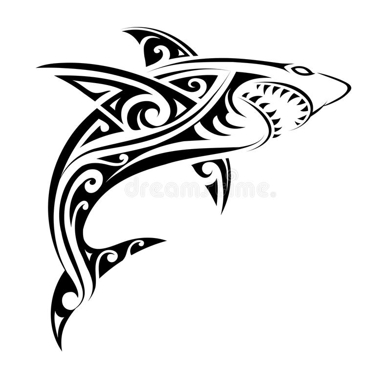 shark tattoo shape stock vector illustration of silhouette 109753863 rh dreamstime com polynesian tattoo shark teeth polynesian shark tattoo designs