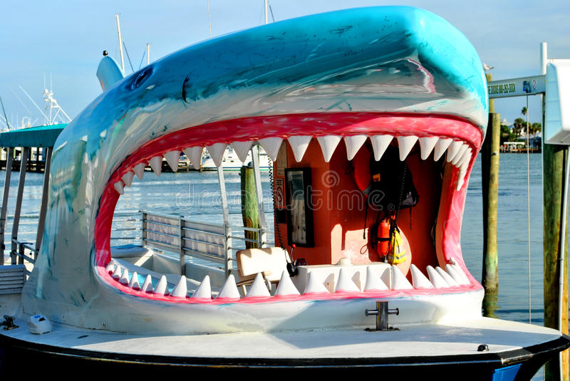 Shark tourist cruise boat in Clearwater Beach Florida. USA stock images