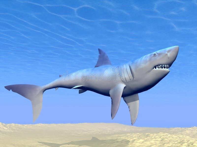 Shark Underwater - 3D Render Royalty Free Stock Photos