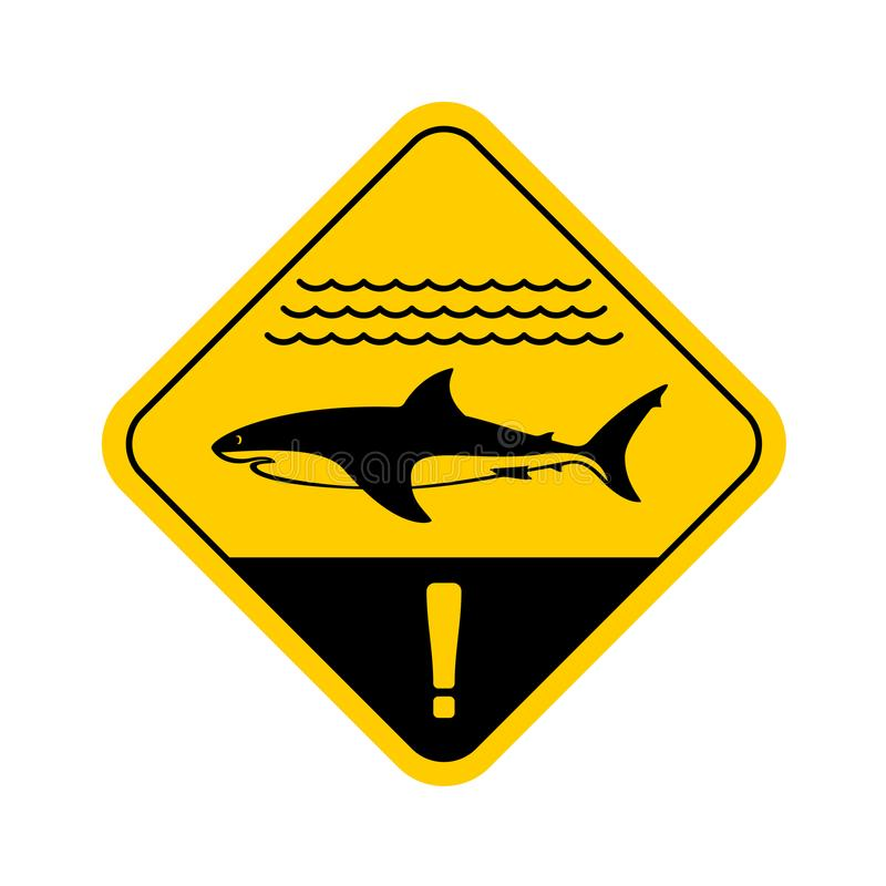 Shark warning sign with sea waves. royalty free illustration