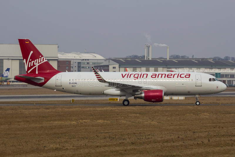 A320-200 Sharklets Virgin America D-AXAL zdjęcia stock