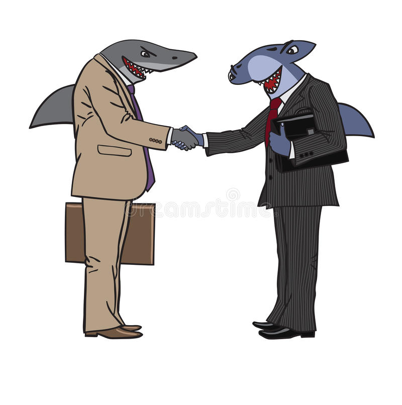 Sharks. Humorous cartoon depicting a meeting of businessmen vector illustration