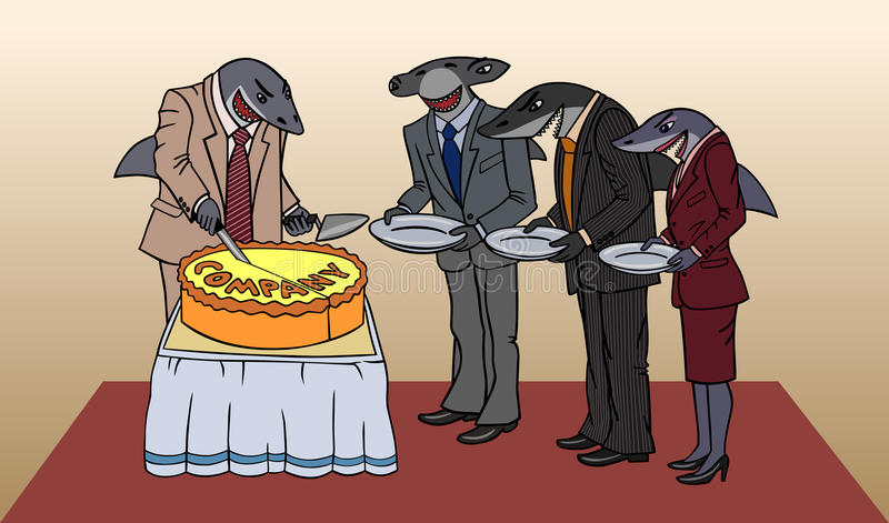 Sharks and cake. Cartoon depicting the division Ð¡ompany vector illustration