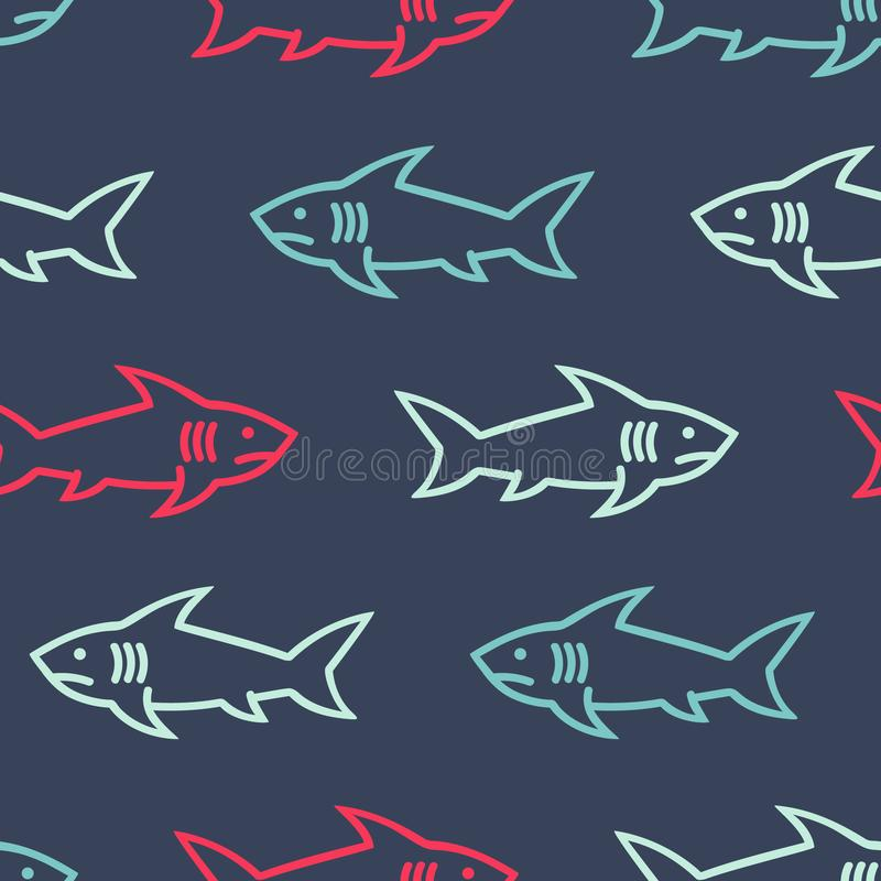 Free Sharks Colored Abstract Seamless Pattern. Stock Photos - 133252663