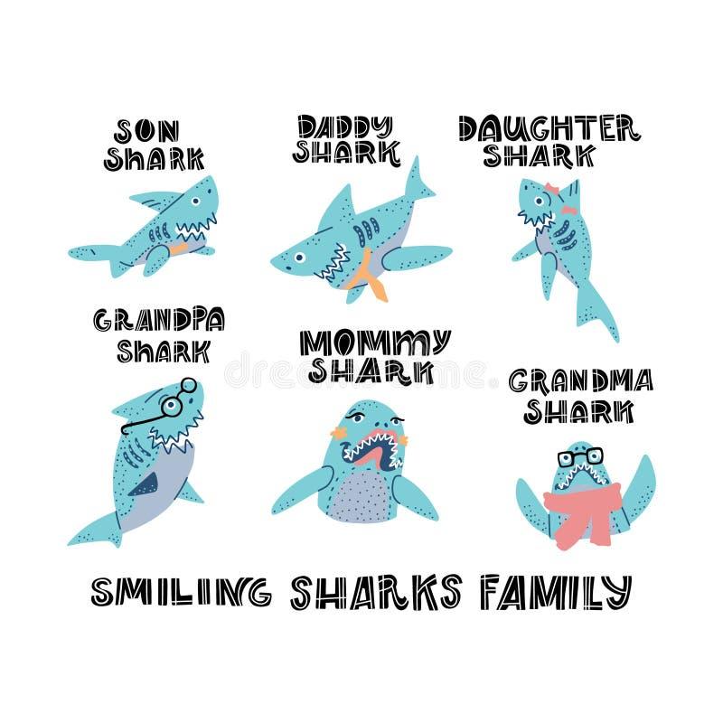 Free Sharks Family Vector Set Stock Image - 167951311