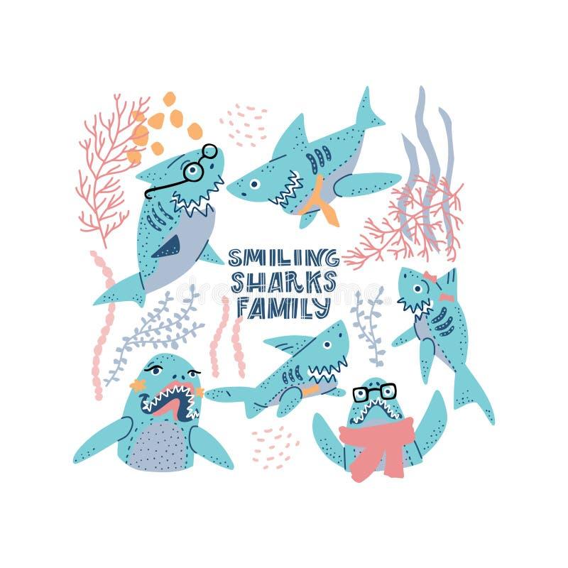Free Sharks Family Vector Set Stock Photos - 167951333
