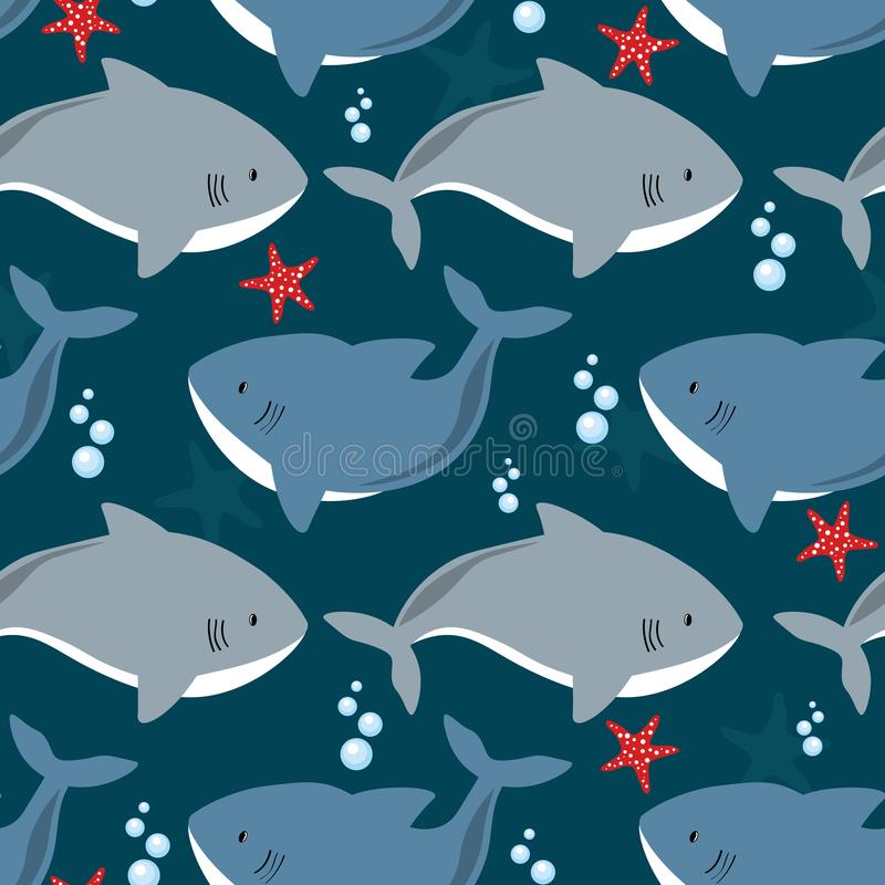 Colorful seamless pattern with sharks, sea stars. Decorative cute background with fishes. Marine illustration. Sharks, sea stars, hand drawn seamless pattern vector illustration