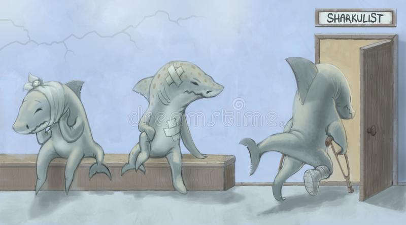Sharks waiting in line to enter doctor's cabinet royalty free stock images