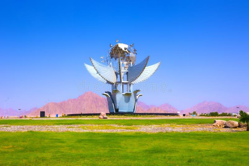 Sharm El谢赫,埃及- 2017年9月23日:和平方形的纪念碑在吉尼斯世界记录被列出 免版税库存照片