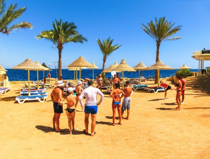 Sharm El Sheikh, Египет - 25-ое сентября 2017: Туристы на игре анимации на гостинице мечтают пляжный комплекс Sharm 5 звезд стоковое изображение rf