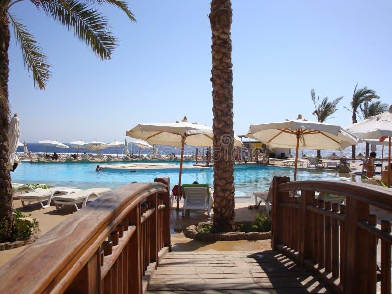 Sharm-el-Sheikh, Egipt, basen i plaża, fotografia royalty free