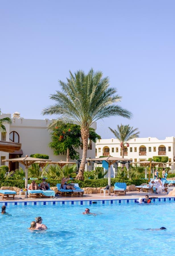 Sharm el Sheikh, Egipto, el 28 de julio de 2015: Turistas que nadan en una piscina en un centro turístico fotografía de archivo libre de regalías