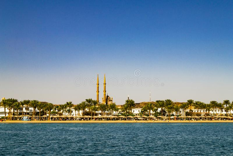 Sharm El Sheikh, egitto Vista scenica del trom della città la baia immagine stock libera da diritti