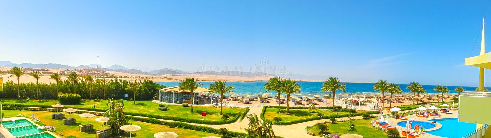 Sharm El Sheikh, Egypt - April 8, 2017: The view of luxury hotel Barcelo Tiran Sharm 5 stars at day with blue sky. Sharm El Sheikh, Egypt - April 8, 2017: The stock photography