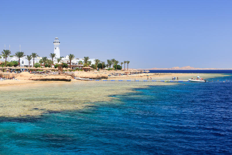Sharm El Sheikh Egypt. Coast of Sharm El Sheikh Egypt as seen from the sea stock photo