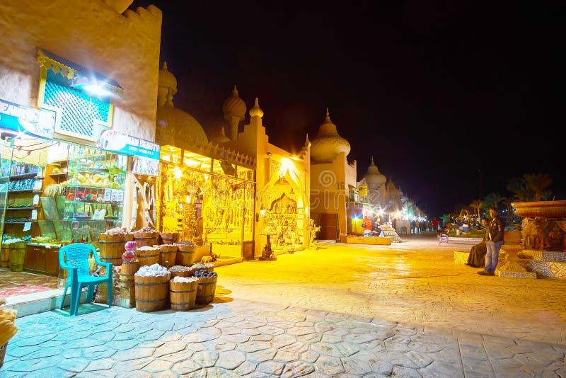 Evening alley of 1001 nights market, Sharm El Sheikh, Egypt. SHARM EL SHEIKH, EGYPT- DECEMBER 15, 2017: The alley of 1001 nights market stretches along the royalty free stock image