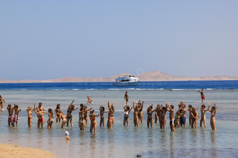 People are bathing in the sea resort of Sharm El Sheikh. Egyptian resort royalty free stock image