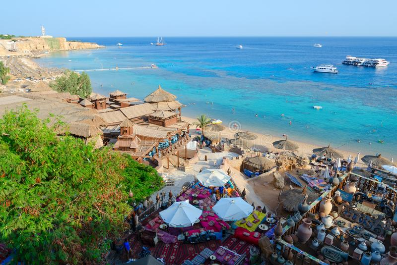 Beautiful top view of popular Farsha cafe on shore of Red Sea in Hadaba district, Sharm El Sheikh, Egypt stock photography