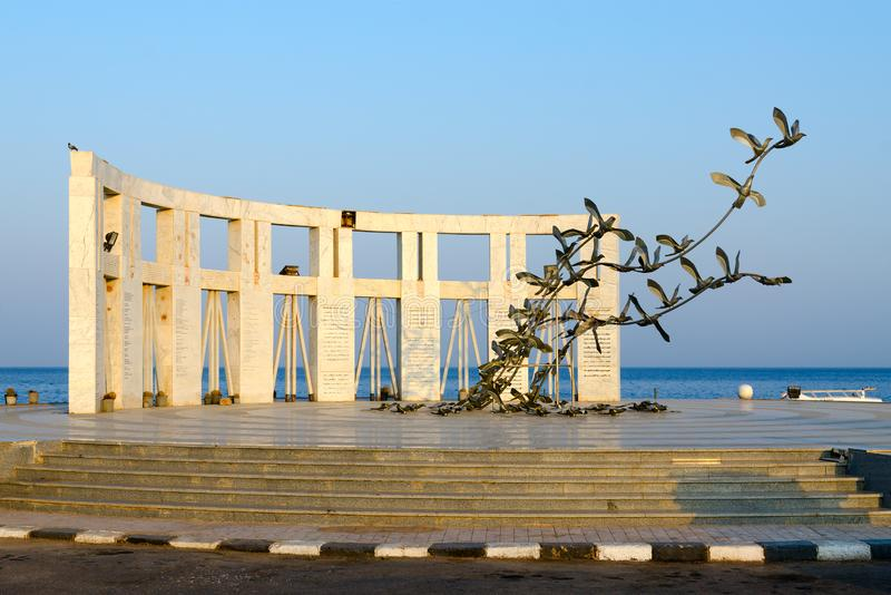 Monument to victims of crash of Boeing 737 aircraft Flight 604 Flash Airlines, Sharm El Sheikh, Egypt royalty free stock image