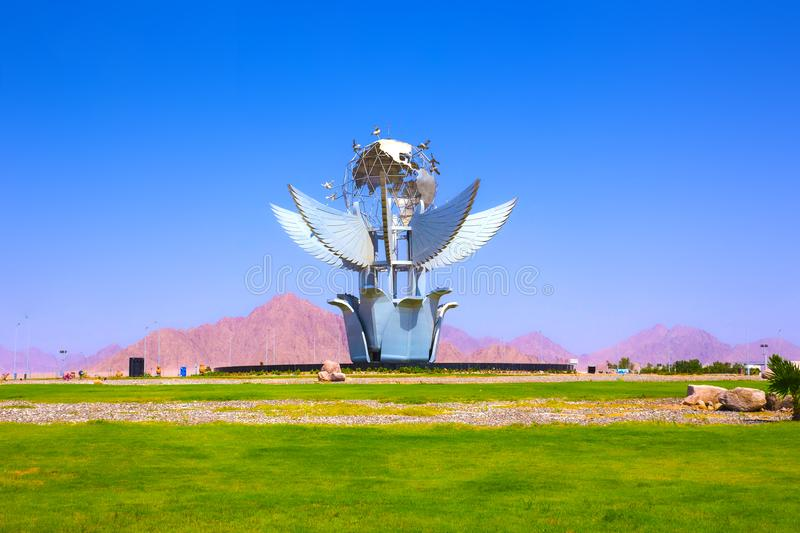 Sharm el Sheikh, Egypt - September 23, 2017: Peace Square monument is listed in the Guinness Book of Records royalty free stock photo