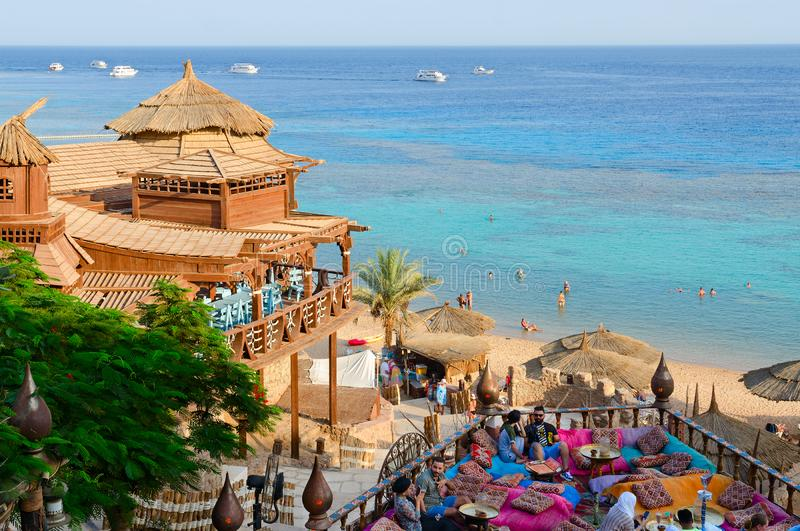 Beautiful top view of popular Farsha cafe on shore of Red Sea in Hadaba district, Sharm El Sheikh, Egypt stock photos