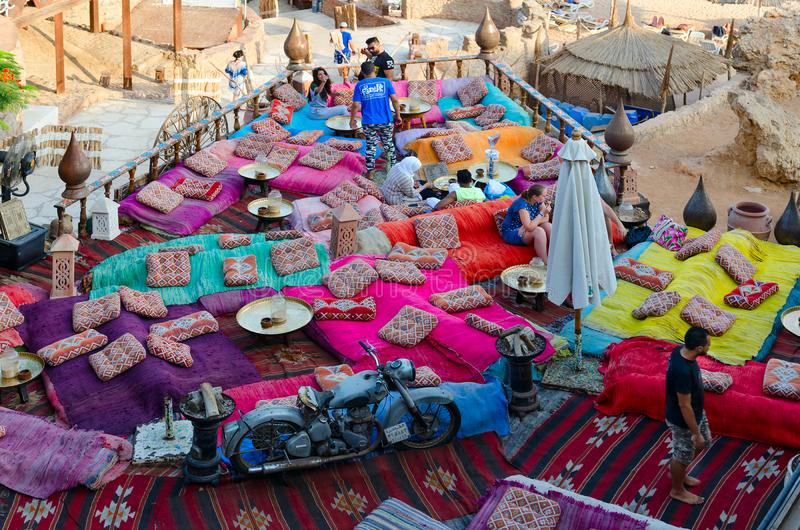 View from above of popular Farsha cafe on shore of Red Sea in Hadaba district, Sharm El Sheikh, Egypt royalty free stock photo