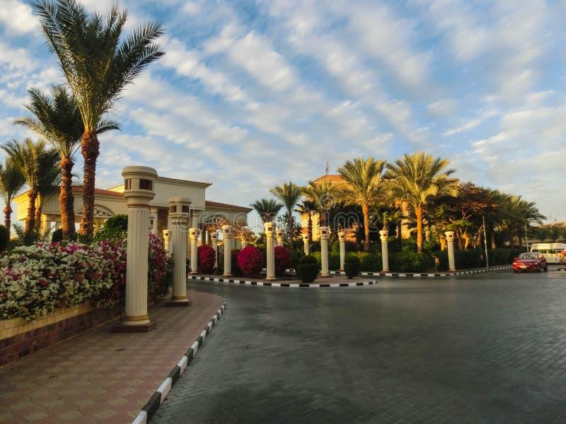 Sharm el Sheikh Egypten - Januari 05, 2019: Sultan Gardens Resort på Sharm el Sheikh arkivbild