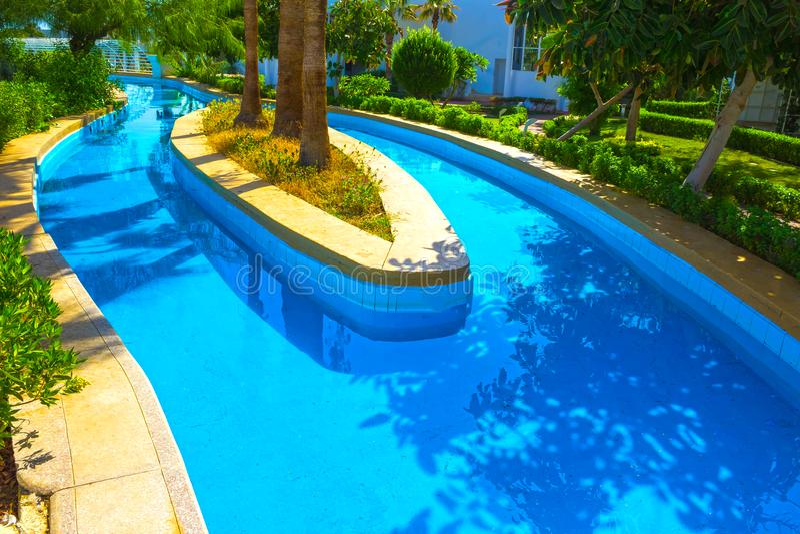 Sharm el Sheikh Egypten - September 26, 2017: Byggnader och områdeshotell Monter Carlo Resort Sharm El Sheikh arkivfoto