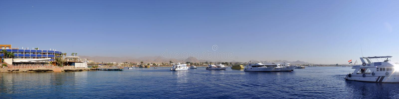 Sharm el Sheikh harbor. Panoramic view of boats in Sharm el Sheikh harbor, Sinai Peninsula, Egypt royalty free stock photo