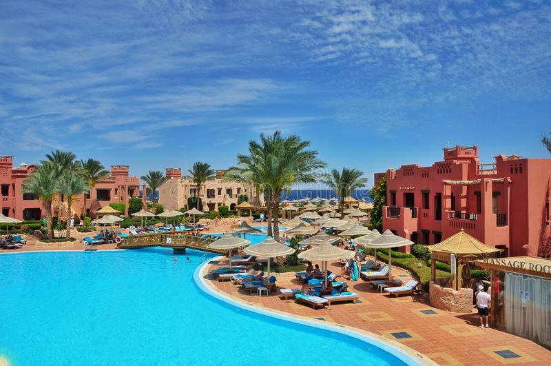 Sharm el Sheikh, Egypt. Swimming pool in Hotel Sea Group of Egypt, rest in the resort of the Red Sea in Sharm el-Sheikh royalty free stock photos