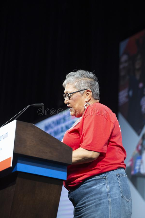 Sharon Risher speaking to the room at the Presidential Forum for Gun Safety, August 10, 2019 royalty free stock photo
