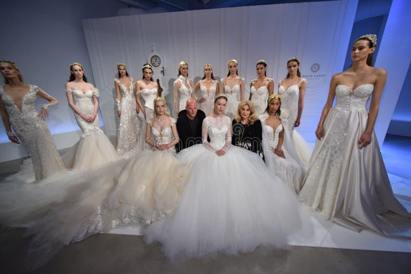 Sharon Sever, Galia Lahav and models pose during the Galia Lahav Bridal Fashion Week Spring/Summer 2017 presentation. NEW YORK, NY - APRIL 14: Sharon Sever royalty free stock images