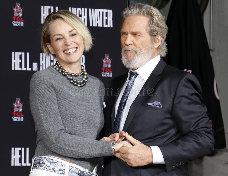 Sharon Stone e Jeff Bridges imagem de stock