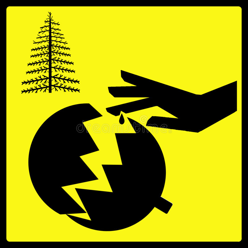 Sharp Broken Christmas Tree Ornament Sign royalty free illustration