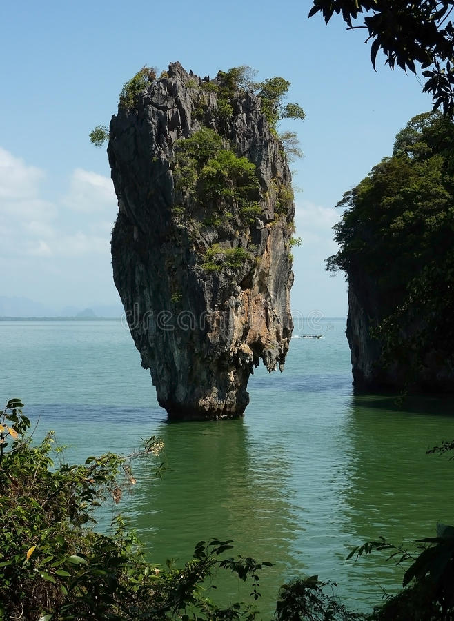 Sharp cliff from the James Bond movie. Cliff near Phuket island Phanga in Thailand royalty free stock image