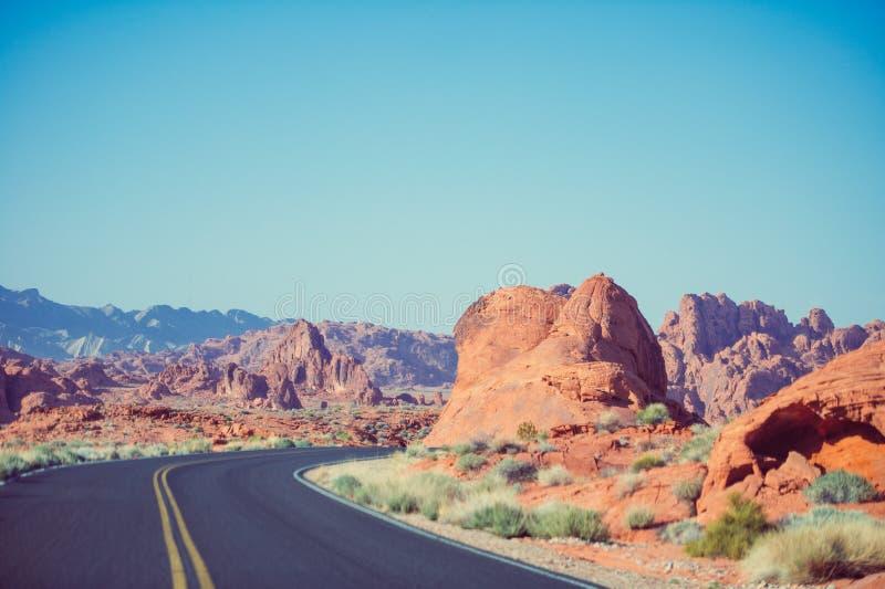 Sharp corner on desert road royalty free stock image