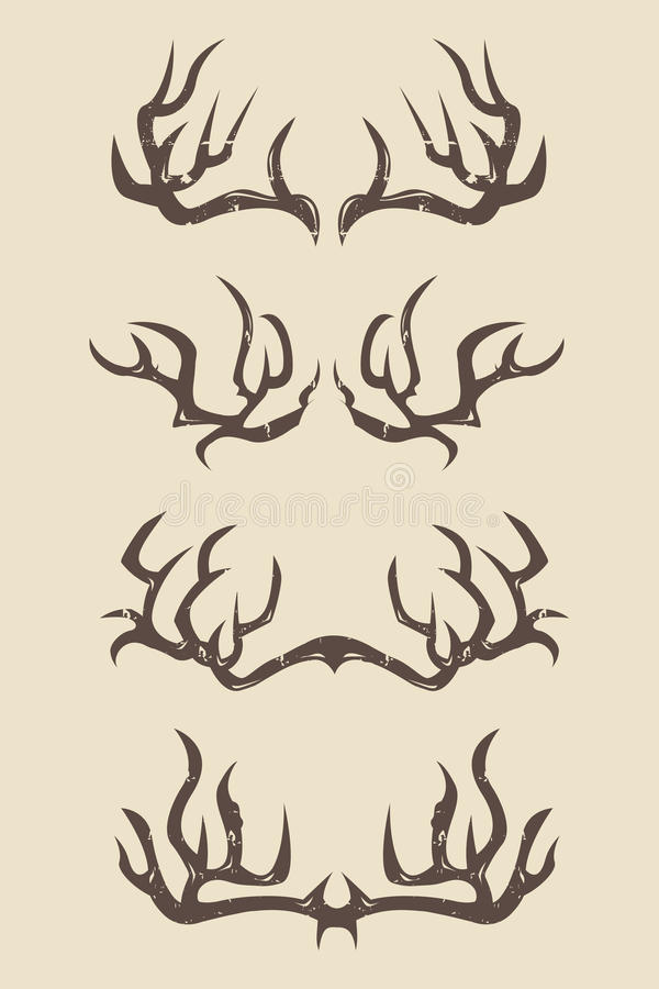 Sharp deer antlers illustration. Set of sharp,huge and strong deer antlers with different styles and sizes , with vintage look , antlers silhouettes vector illustration