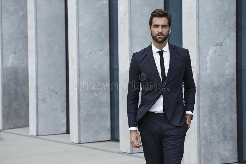 Sharp dressed man in business suit stock image