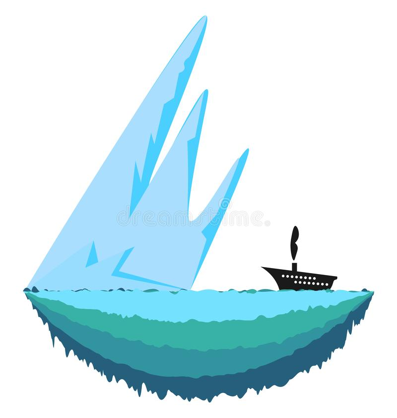 Sharp iceberg vector or color illustration. Sharp and big ice berg and a ship travelling towards it vector color drawing or illustration stock illustration