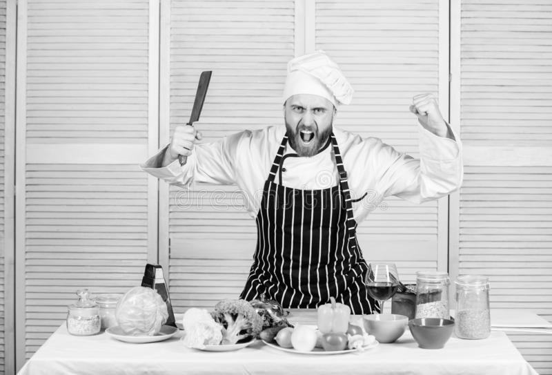 Sharp knife professional tool. Chef choose professional tools. Chef hold cleaver knife tool ready to chop ingredients stock photography