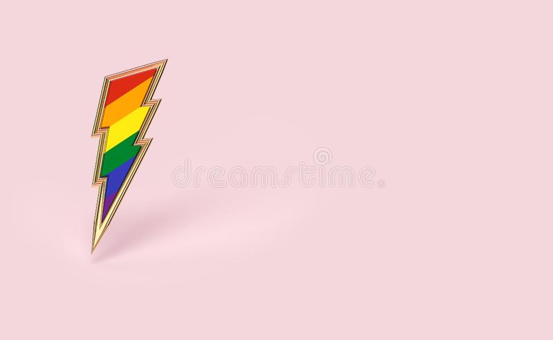 Sharp LGBT lightning bolt rainbow pride symbol isolated on pastel pink background with copy space on the right side. Homosexual stock illustration