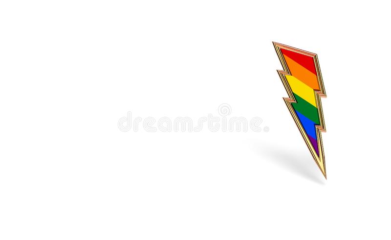Sharp LGBT lightning bolt rainbow pride symbol isolated on white background with copy space on the left side. Homosexual minority. Fight for their rights symbol stock illustration