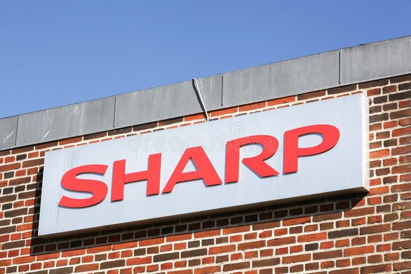 Sharp logo on a facade royalty free stock photos