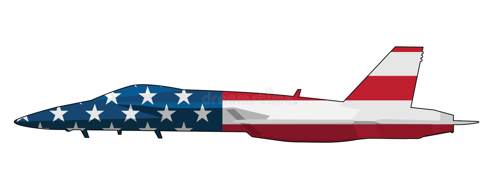 American Flag Military Fighter Jet Airplane Isolated Vector Illustration stock images