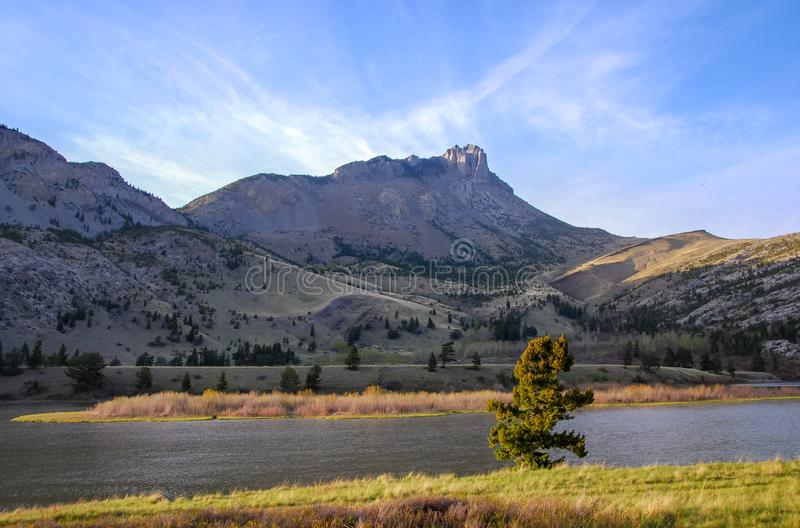 Sharp mountain peaks along the eastern front of Montana royalty free stock photo