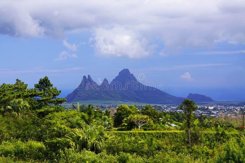 Sharp mountains at Mauritius stock photos