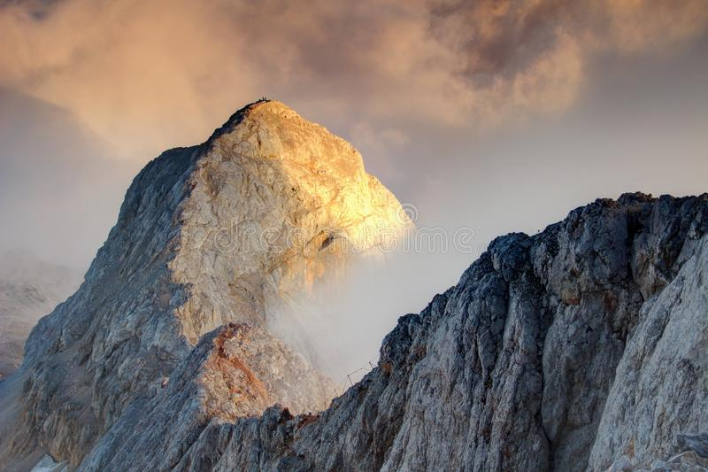Sharp ridge with via ferrata route to Triglav peak Slovenia royalty free stock image