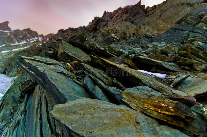 Sharp rocks near Grossglokner peak. stock image
